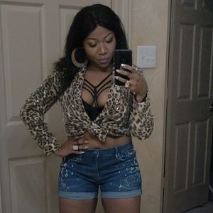 Animal print sequins sexy light jacket dolce cabo